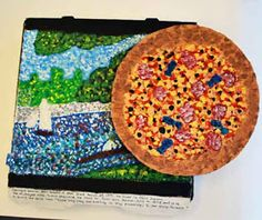 Pizza Box Biographies - OMG this is AMAZING!! Students pick an artist / art movement and design an image for the pizza box top (either inspired by the artist or replicating a famous piece of artwork). Text about the artist / art movement is written around the edge of the pizza box. Then the real fun begins.... students design and create a pizza out of cardboard or model magic that would be a pizza made by their artist/art movement!!