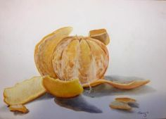 Mandarin, colour pencil still life.