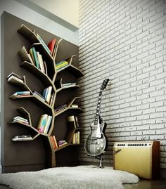 gorgeous wall shelves in tree form