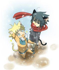 Neko and slightly chibi versions of Naruto and Sasuke