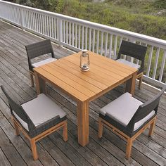 The Azores Dining Side Chair features the perfect balance between modern and transitional design. The sturdy base is composed of solid teak hard Teak Furniture, Furniture Covers, Outdoor Furniture, Weathered Wood, Teak Wood, Mesa Exterior, Outdoor Tables, Outdoor Decor, Dining Chair Set