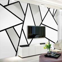 Modern Simple 3D Stereo Black And White Geometry Line Mural Wallpaper Living Room TV Sofa Study Office Wall Papers For Walls 3 D(China)