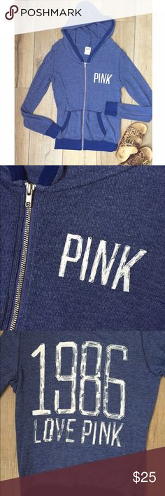 V S  P i n k  N a v y  H o o d i e Victoria's Secret Navy Zip Up. Size XS. Worn once. In excellent condition. No tears or stains. PINK Victoria's Secret Tops Sweatshirts & Hoodies