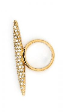 Pave Spear Ring - Gold