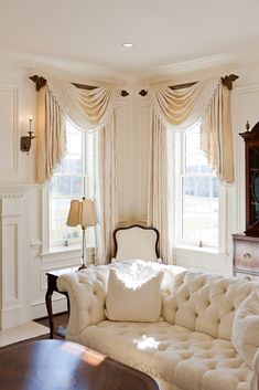 Great #valances - omg. all white/off white with wood accent living room. GORGEOUS