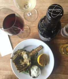 via @revolutionwines: $5 Grilled artichoke with caper aioli $5 house-made kettle chips with French onion dip for happy time...get in here! #revolutionwines #sacfarm2fork