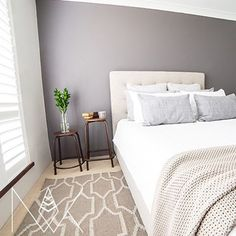 TAUBMANS WALLS - This time from @nk_interiors using    GIBRALTAR GREY    what a beautiful inviting space! Is it time for bed yet... #taubmans #letsgopaint #regram #paint #bedroom #interiordesign #interiordecoration #taubmanspaint #featurewall #grey #homeinspiration #bedroominspiration