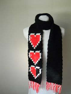 Zelda scarf!   listing at https://www.etsy.com/listing/165586374/zelda-heart-container-scarf