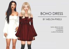 Lana CC Finds - melon-pixels:  BOHO DRESS RECOLORS by...
