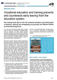 Briefing note - Vocational education and training prevents and counteracts early leaving from the education system | Cedefop