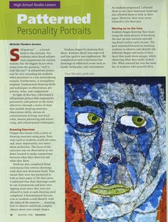 Art Inspired / Units and Curriculum for MS and HS pattern portrait, school, person portrait, portrait collag, picasso portrait
