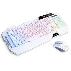 HAVIT Rainbow Backlit Wired Gaming Keyboard and Mouse Combo (White) [ Updated Version ]: Keyboard Specification: Interface: USB Keyboard Key times Cable Length: about Net weight: Current: Voltage: Gaming Room Setup, Gaming Desk, Pc Setup, Best Gaming Headset, Razer Gaming, Video Games Xbox, Pc Mouse, Kawaii Room, Game Room Design