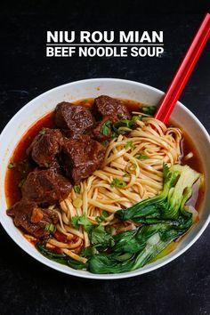 Niu Rou Mian Taiwanese Beef Noodle Soup 牛肉麵 Recipe & Video - Seonkyoung Longest Taiwanese Beef Noodle Soup Recipe, Chinese Beef Noodle Soup, Taiwanese Recipe, Chinese Beef Stew Recipe, Chinese Soup Recipes, Noodle Soups, Asian Recipes, Beef Recipes, Cooking Recipes