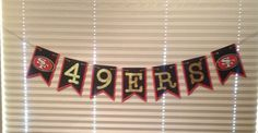 San Francisco 49ers inspired Banner Cardstock paper Birthday Wedding Shower Baby shower anniversary red black gold party Handmade new by SportsNutz on Etsy