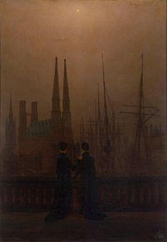 Caspar David Friedrich - Dos hermanas en la terraza frente al puerto