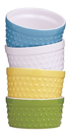 Blue, White, Yellow and Green Hobnail Ramekins at Cost Plus World Market >> #WorldMarket Cooking with Color