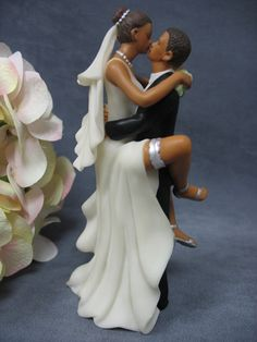 """""""Funny Sexy"""" African American Wedding Bride and Groom Cake Topper Figurine - Unity Sand"""