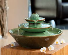 Pisa Green - Ceramic Indoor Water Feature What is Sealed Enterprise? Small Fountains, Indoor Water Fountains, Indoor Fountain, Indoor Water Features, Small Water Features, Feng Shui, Cat Fountain, Fountain Ideas, Tabletop Water Fountain