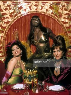 John Leguizamo, Wesley Snipes and Patrick Swayze in a restaurant in a scene from the film 'To Wong Foo Thanks for Everything, Julie Newmar', 1995.