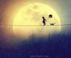 Moonlit Walk cat art fantasy boy painting draw full moon tightrope