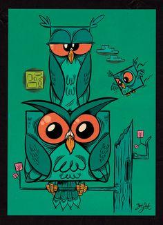 Owltober - 3 Owls in the Night by Themrock on deviantart
