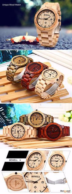 US$22.99 + Free shipping. Band Material Type: Sandalwood Band. Fall in love with casual and gentleman style. BEWELL ZS-W086B Men Natural Wooden Auto Calendar Display Fashion Quartz Wrist Watch.