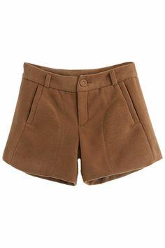 ROMWE | ROMWE Buttoned Zippered Khaki Woolen Shorts, The Latest Street Fashion
