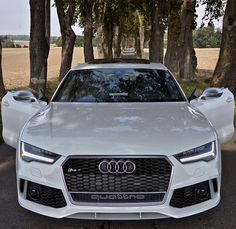 """""""The new RS7 stands with open doors on an empty road, just for you. What do you do?  Car: 2016 @Audi RS7 Sportback (560hp, V8 4.0 TwinTurbo) Color: Ibiz…"""""""