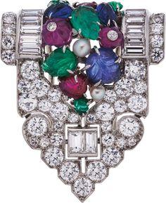 Art Deco Diamond, Multi-Stone, Cultured Pearl, Platinum, White Gold Brooch.