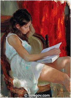 Vladimir Volegov 89. Reading Novel (2012) http://www.volegov.com/reading-novel-painting/
