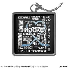 Shop Ice Blue Heart Hockey Words White Logo 2 Keychain created by ManCavePortal. Charm Rings, Personal Shopping, Key Chains, Silver Color, Portal, Colorful Backgrounds, Party Supplies, Hockey, I Shop