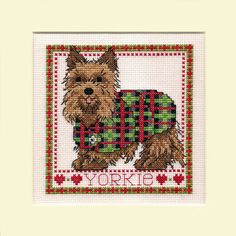 Handmade Textiles/Fabrics gift idea by Jean Ashcroft found on MyOwnCreation: A delightful little picture of a Yorkshire Terrier Dog ~ Wearing His Tartan Jacket.Completed cross stitch on 14 count white aida fabric using DMC stranded cotton thread.Already mounted and ready for you to place in a 203mm x 203mm (approx 8