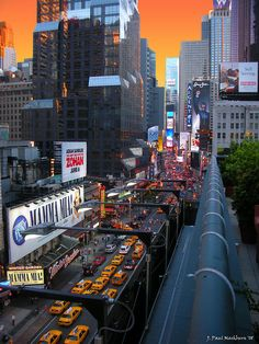 Broadway from above. Lots of taxicabs. NYC