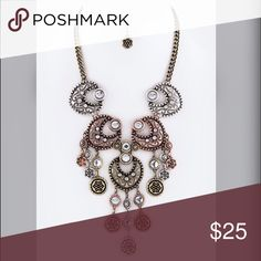 """Beautiful etched tricolor Vintage style necklace! Iconic Royal Vintage Style Statement Necklace Set-     Necklace - 18"""" + Extension     Earrings - 0.8"""" Drop*** ships Wednesday*** Jewelry Necklaces"""