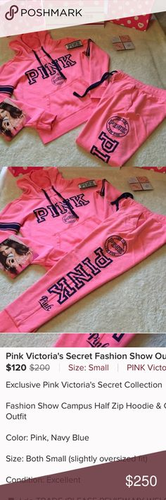 Exclusive collection Exclusive VS collection fashion show campus half zip hoodie and pants outfit PINK Victoria's Secret Pants
