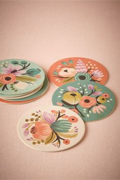 So pretty. Vintage Bloom Coasters (set of by Rifle Paper Co from BHLDN Motif Vintage, Cd Art, Deco Boheme, Paperclay, Rifle Paper Co, Flower Power, Pattern Design, Coasters, Artsy