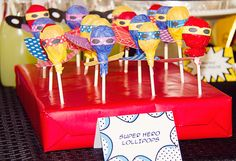 super hero lollipops
