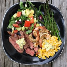 Sending off this weekend in style OR getting the week going? Either way this dinner was delicious! Clockwise: Our new Avocado Arugula Salad > Grilled Asparagus with our Garlic & Herb Blend > Grilled Shrimp with our Seafood Seasoning > Grilled Corn with Chive Butter (corn isn't paleo) > Delmonico Steak with our Steak Seasoning andmore Chive Butter . If you're looking to up your cooking game AND make life easier you should try our blends. If you already have them you gotta try these…