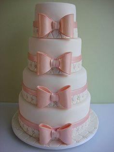 Beautifull white and pink bow cake Beautiful Wedding Cakes, Gorgeous Cakes, Pretty Cakes, Amazing Cakes, Unique Cakes, Elegant Cakes, Baby Cakes, Fondant Cakes, Cupcake Cakes