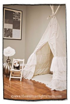 Custom Lace Ruffle Tepee by Teepee and Tent - $269.00» The layers of ruffles perfectly soften up the traditional design of this good looking tepee.