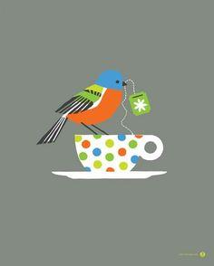 """Birdie Tea Party"" - canvas wall art at Wheatpaste Art Collective"