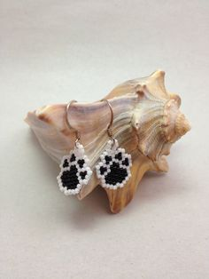 Black and White Paw Brick Stitch Earrings by BeadingBeeCreations, $12.00