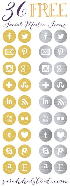 Free Social Media Icons | Gold & Silver #TypeAParent