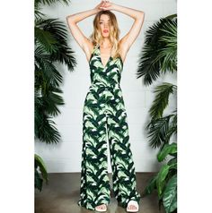 2ba0e947fda BLURR Mojito Jumpsuit at Dissh. We are obsessed with this green and white  palm print