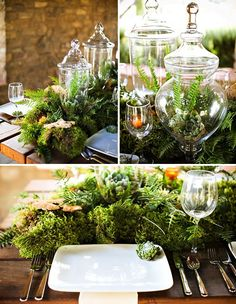 Love the apothecary jars and moss!