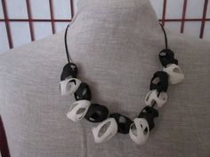White-black cocoon Necklace by GoldRuno on Etsy