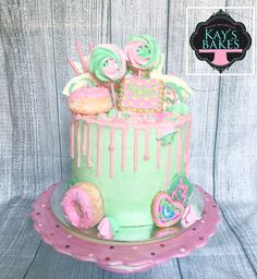 Pink and green drip cake. One of my happy cakes collection.