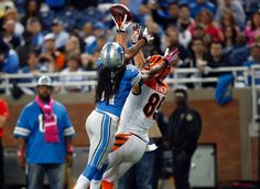 Tyler Eifert's 1st TD of his NFL career!!!! 32-yard catch on 10/20/13 vs. Detroit Lions. See it here: http://www.bengals.com/media-lounge/videos/Bengals-TE-Tyler-Eifert-32-yard-touchdown-catch/e2fcade3-165c-452f-9fa5-70ed4a22d6fb  [Pic. Credit to Bengals.com]