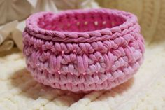 Pretty in Pink Trapillo Tee Shirt Yarn Basket by DesignsbyDEWaltz