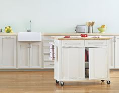 A mobile kitchen island adds instant counter space.